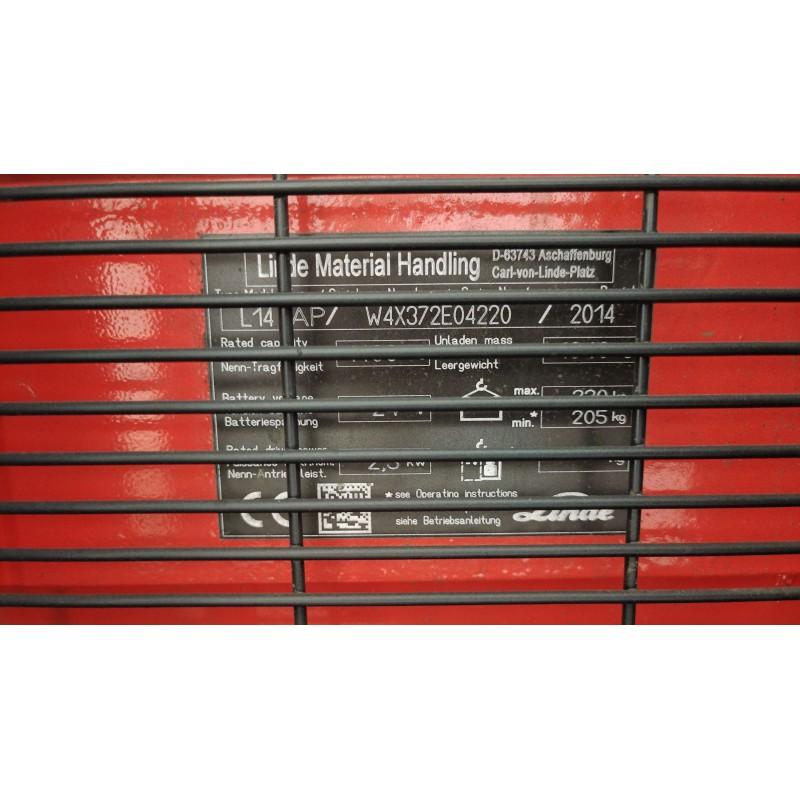 Штабелер електричний повідковий LINDE L14АР 1,4т-2т 3,0м 2014