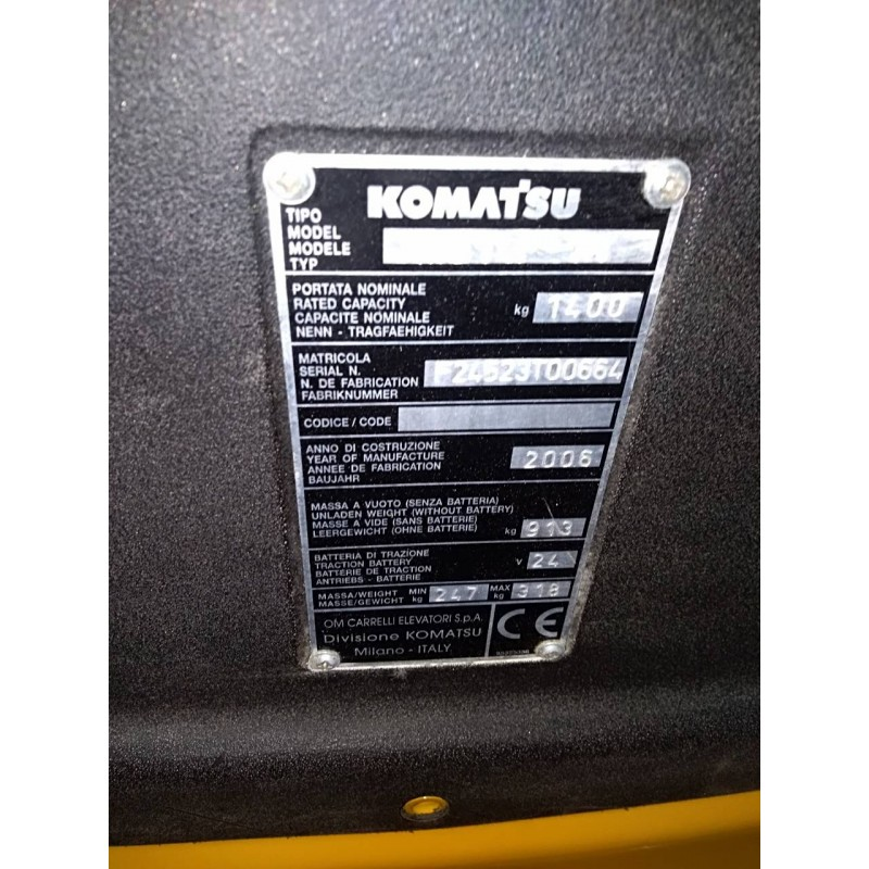 Б / У Штабелер електричний повідковий Komatsu 1,4т  2,9 м