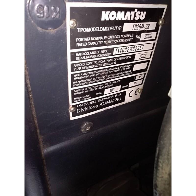 Навантажувач Komatsu FB20-2R електро 2012р 2т 4.5м