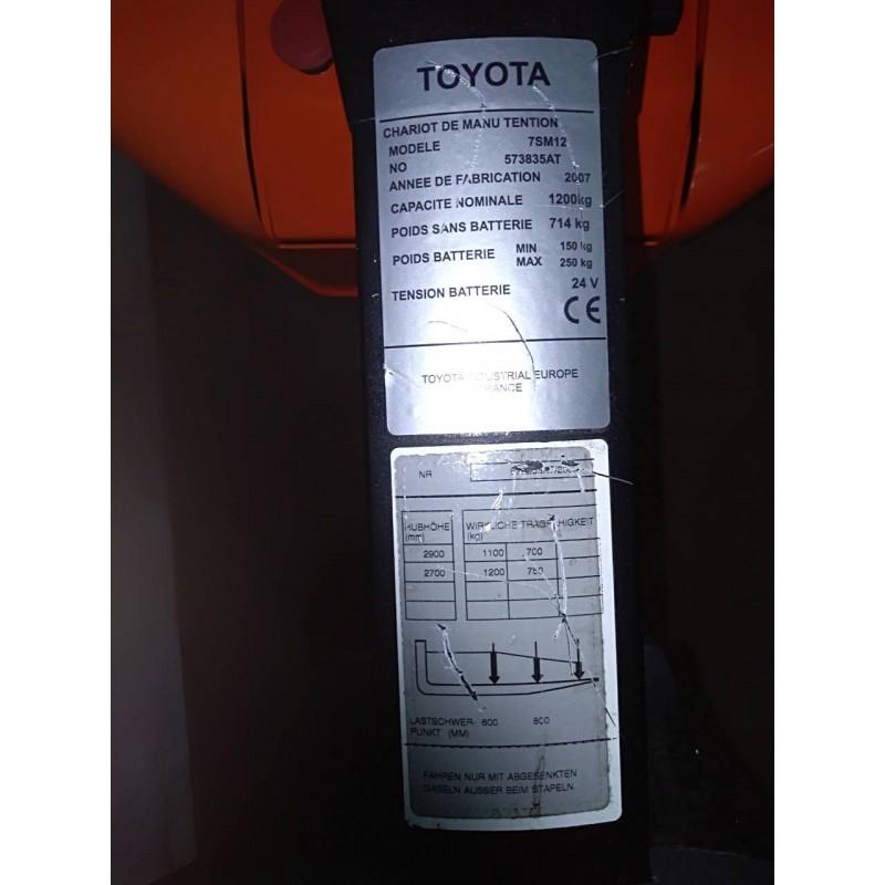 Штабелер електричний повідковий Toyota 7SM 12 2003р 1200кг 290см