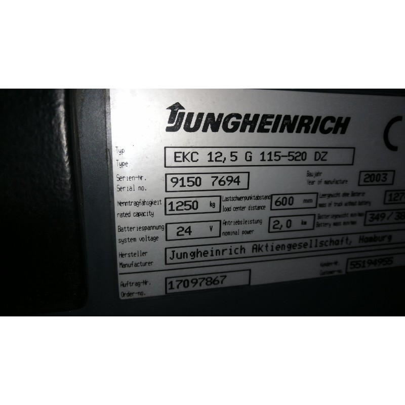Штабелер електричний самохідний Jungheinrich EKC 12.5 G 1250kg 520cm!!!