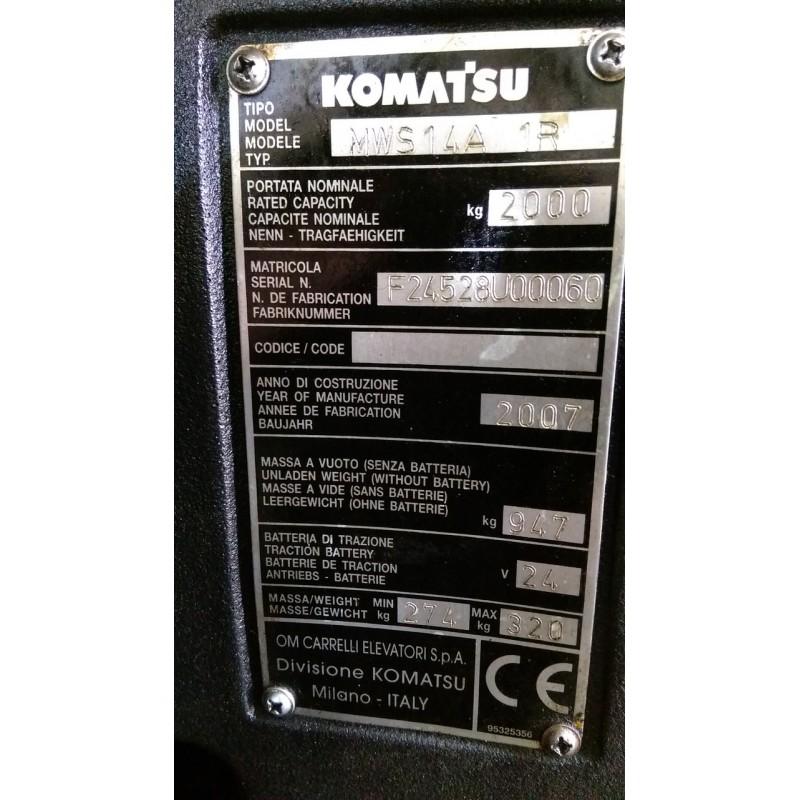 Штабелер електричний повідковий Komatsu MWS14A-1R 1,4т 2.9м