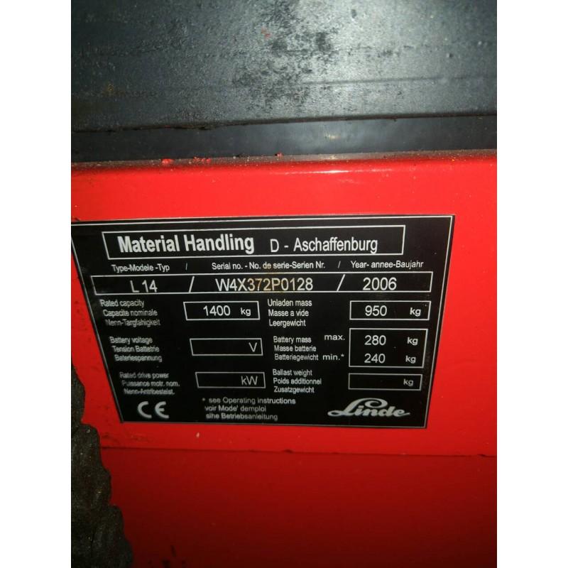 Штабелер електричний LINDE L 14 1,4т 4.22м