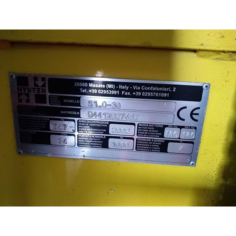 Штабелер електричний самохідний HYSTER 1.0 3.8м