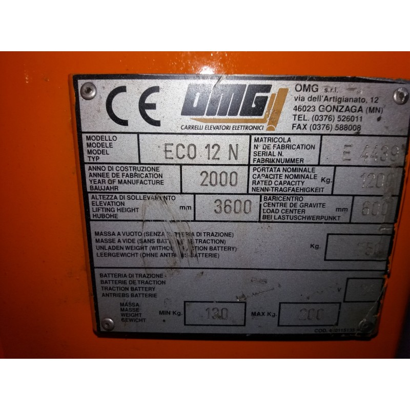 Штабелер електричний повідковий OMG 1200кг 3,6м